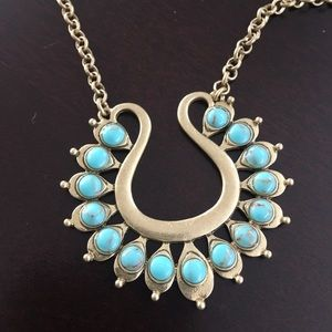 Lucky Brand Gold colour & Turquoise long necklace